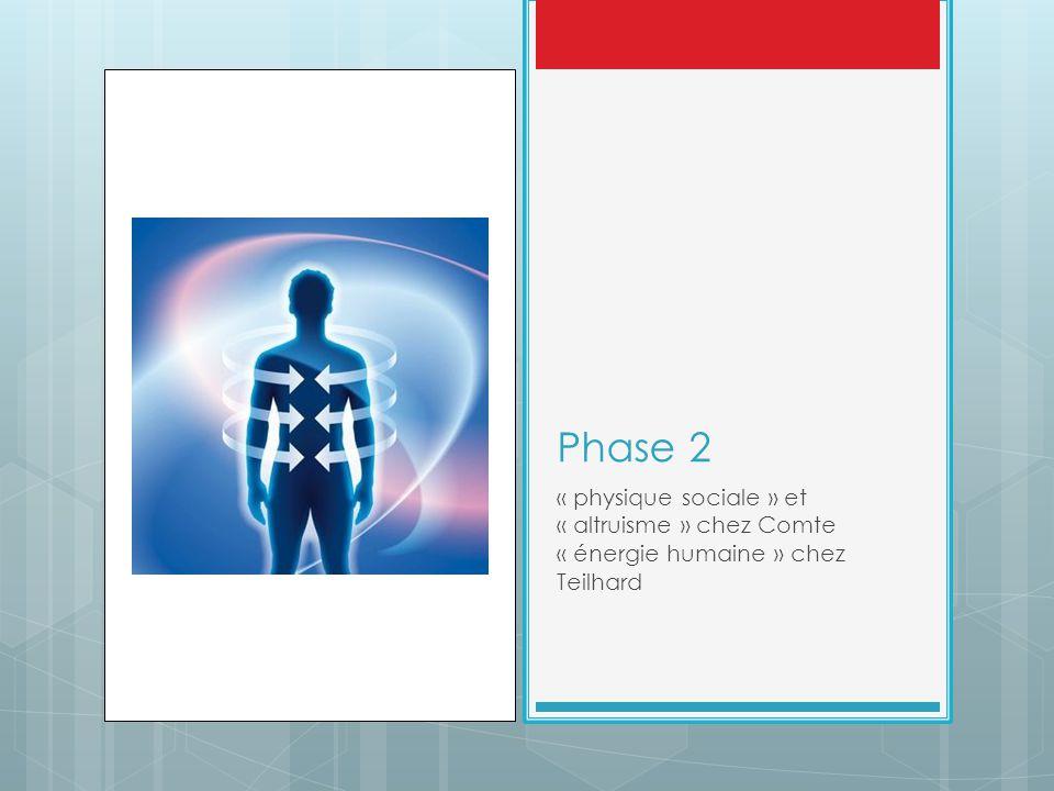 Phase 2 « physique sociale » et « altruisme » chez Comte « énergie humaine » chez Teilhard