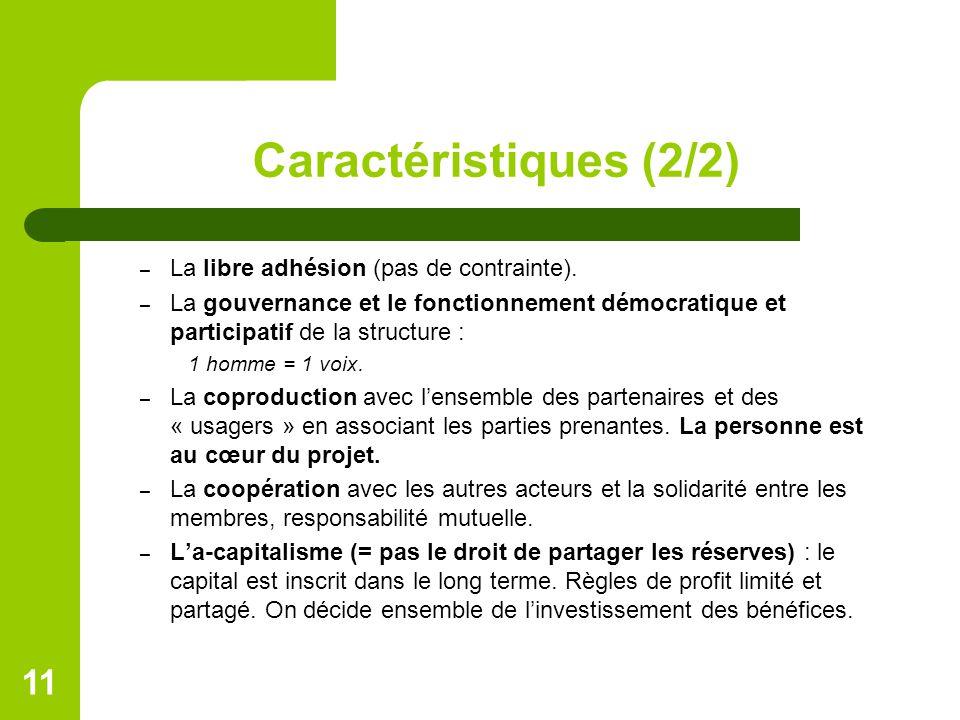 Caractéristiques (2/2) – La libre adhésion (pas de contrainte). – La gouvernance et le fonctionnement démocratique et participatif de la structure : 1