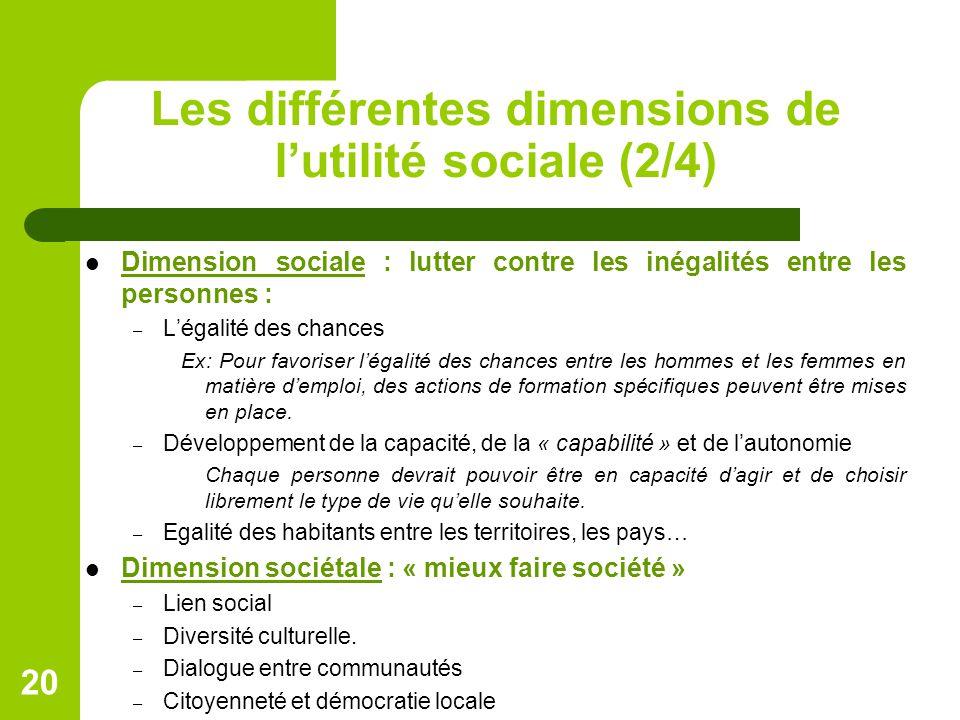 Les différentes dimensions de l'utilité sociale (2/4) Dimension sociale : lutter contre les inégalités entre les personnes : – L'égalité des chances Ex: Pour favoriser l'égalité des chances entre les hommes et les femmes en matière d'emploi, des actions de formation spécifiques peuvent être mises en place.