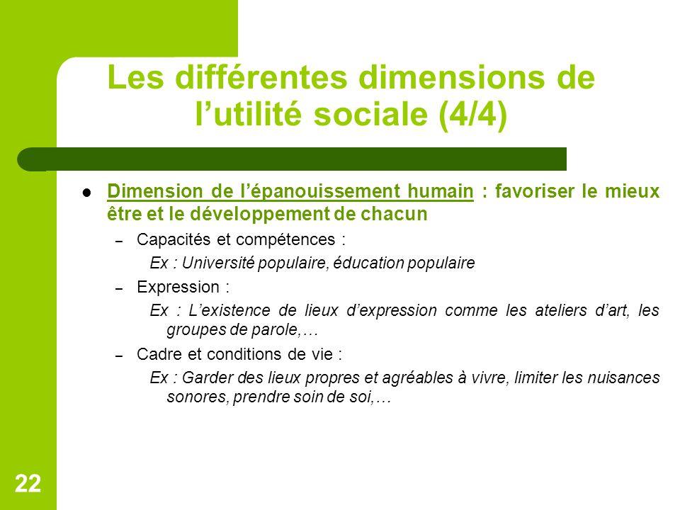 Les différentes dimensions de l'utilité sociale (4/4) Dimension de l'épanouissement humain : favoriser le mieux être et le développement de chacun – C