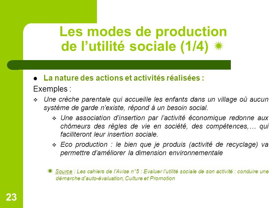 Les modes de production de l'utilité sociale (1/4)  La nature des actions et activités réalisées : Exemples :  Une crèche parentale qui accueille les enfants dans un village où aucun système de garde n'existe, répond à un besoin social.