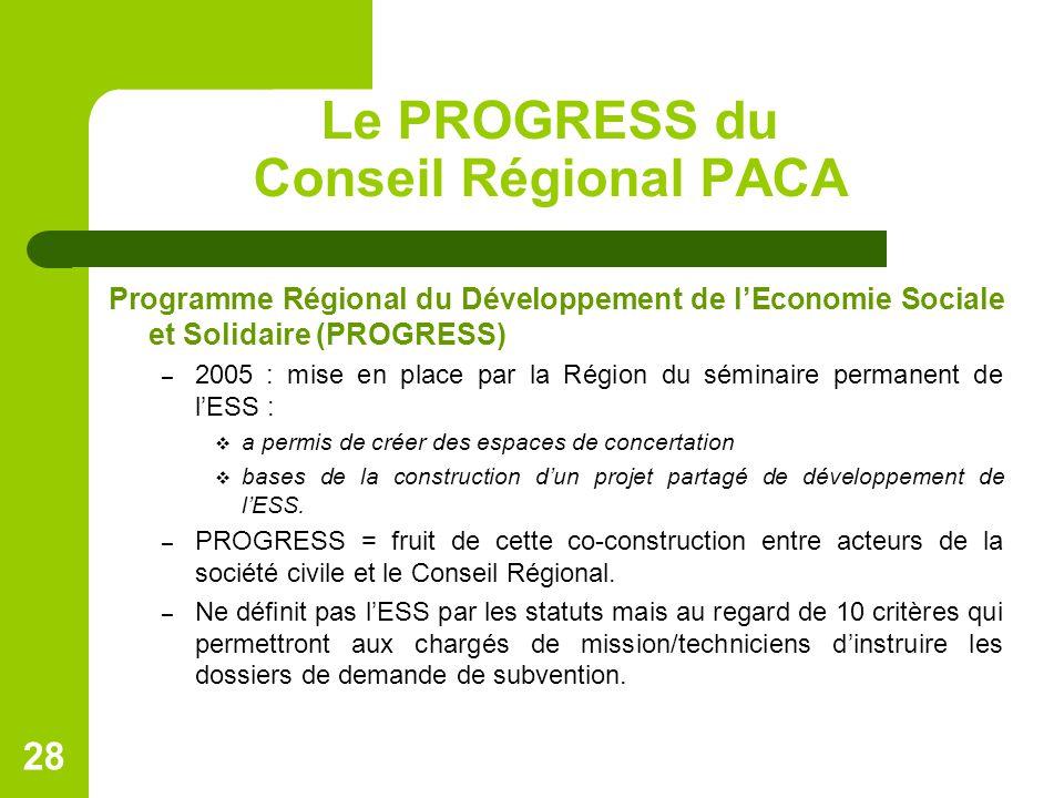 Le PROGRESS du Conseil Régional PACA Programme Régional du Développement de l'Economie Sociale et Solidaire (PROGRESS) – 2005 : mise en place par la Région du séminaire permanent de l'ESS :  a permis de créer des espaces de concertation  bases de la construction d'un projet partagé de développement de l'ESS.