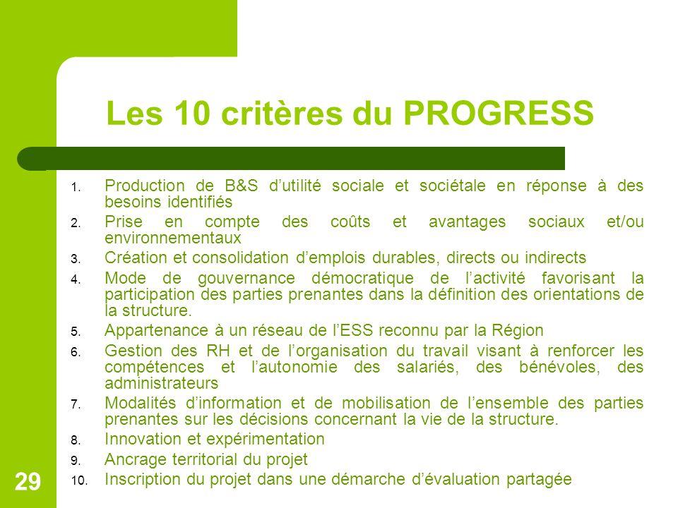 Les 10 critères du PROGRESS 1. Production de B&S d'utilité sociale et sociétale en réponse à des besoins identifiés 2. Prise en compte des coûts et av
