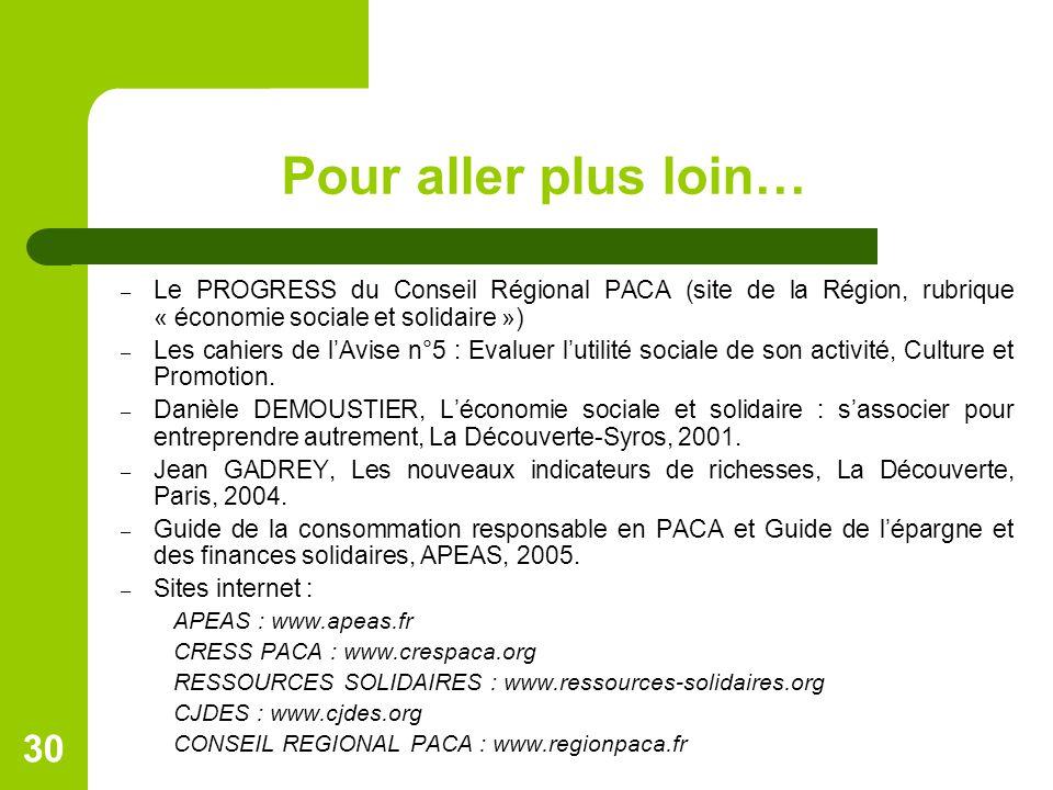 Pour aller plus loin… – Le PROGRESS du Conseil Régional PACA (site de la Région, rubrique « économie sociale et solidaire ») – Les cahiers de l'Avise