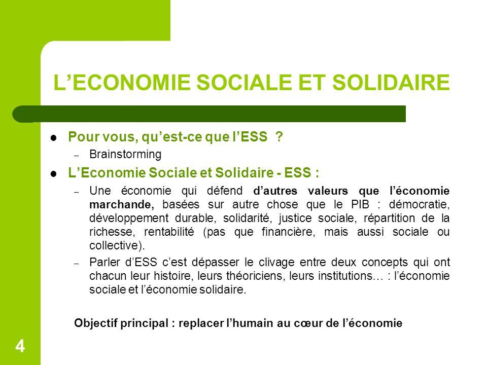 L'ECONOMIE SOCIALE ET SOLIDAIRE Pour vous, qu'est-ce que l'ESS ? – Brainstorming L'Economie Sociale et Solidaire - ESS : – Une économie qui défend d'a