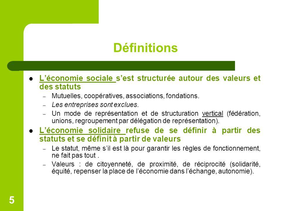 Définitions L'économie sociale s'est structurée autour des valeurs et des statuts – Mutuelles, coopératives, associations, fondations. – Les entrepris