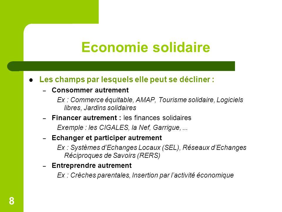 Economie solidaire Les champs par lesquels elle peut se décliner : – Consommer autrement Ex : Commerce équitable, AMAP, Tourisme solidaire, Logiciels