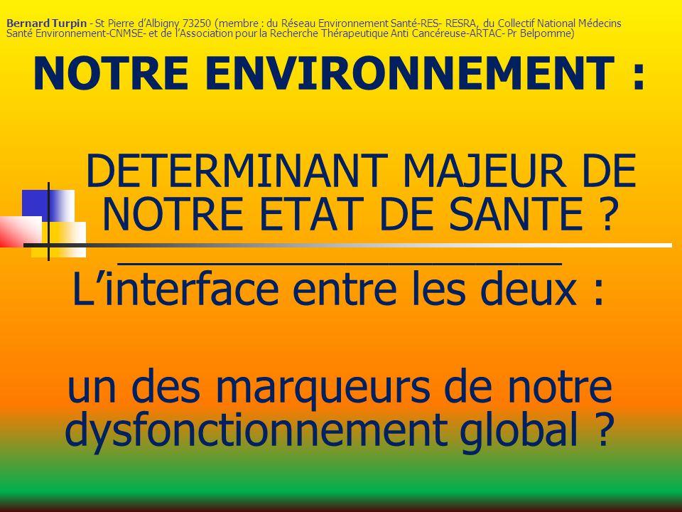 Bernard Turpin - St Pierre d'Albigny 73250 (membre : du Réseau Environnement Santé-RES- RESRA, du Collectif National Médecins Santé Environnement-CNMSE- et de l'Association pour la Recherche Thérapeutique Anti Cancéreuse-ARTAC- Pr Belpomme) NOTRE ENVIRONNEMENT : DETERMINANT MAJEUR DE NOTRE ETAT DE SANTE .