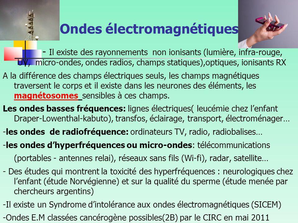 Ondes électromagnétiques - Il existe des rayonnements non ionisants (lumière, infra-rouge, UV, micro-ondes, ondes radios, champs statiques),optiques, ionisants RX A la différence des champs électriques seuls, les champs magnétiques traversent le corps et il existe dans les neurones des éléments, les magnétosomes sensibles à ces champs.