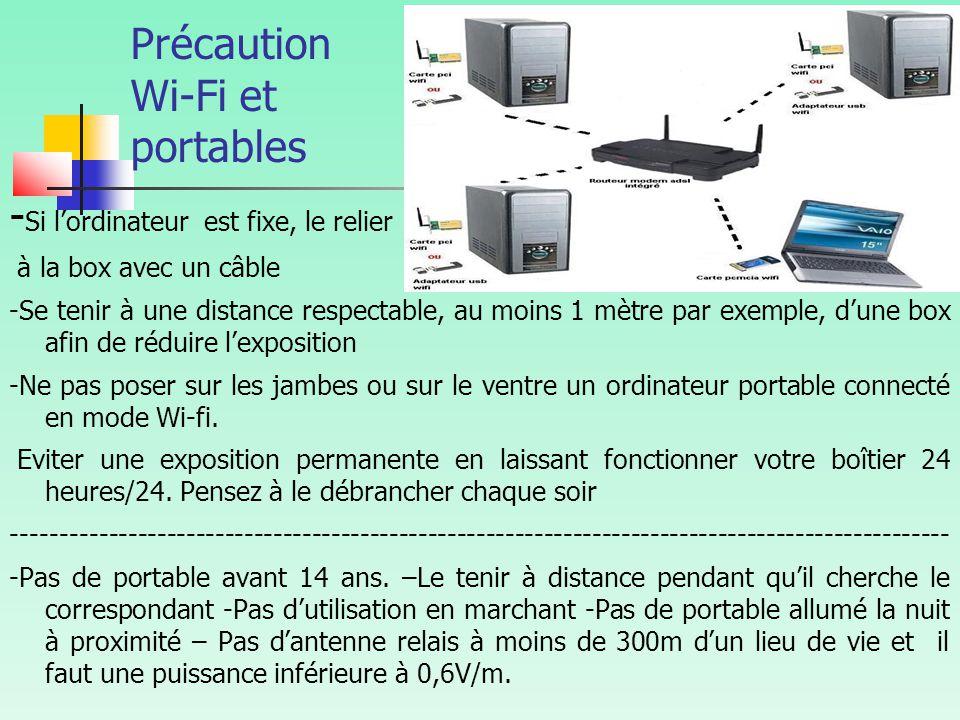 Précaution Wi-Fi et portables - Si l'ordinateur est fixe, le relier à la box avec un câble -Se tenir à une distance respectable, au moins 1 mètre par exemple, d'une box afin de réduire l'exposition -Ne pas poser sur les jambes ou sur le ventre un ordinateur portable connecté en mode Wi-fi.