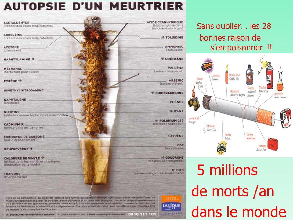 Sans oublier… les 28 bonnes raison de s'empoisonner !! 5 millions de morts /an dans le monde