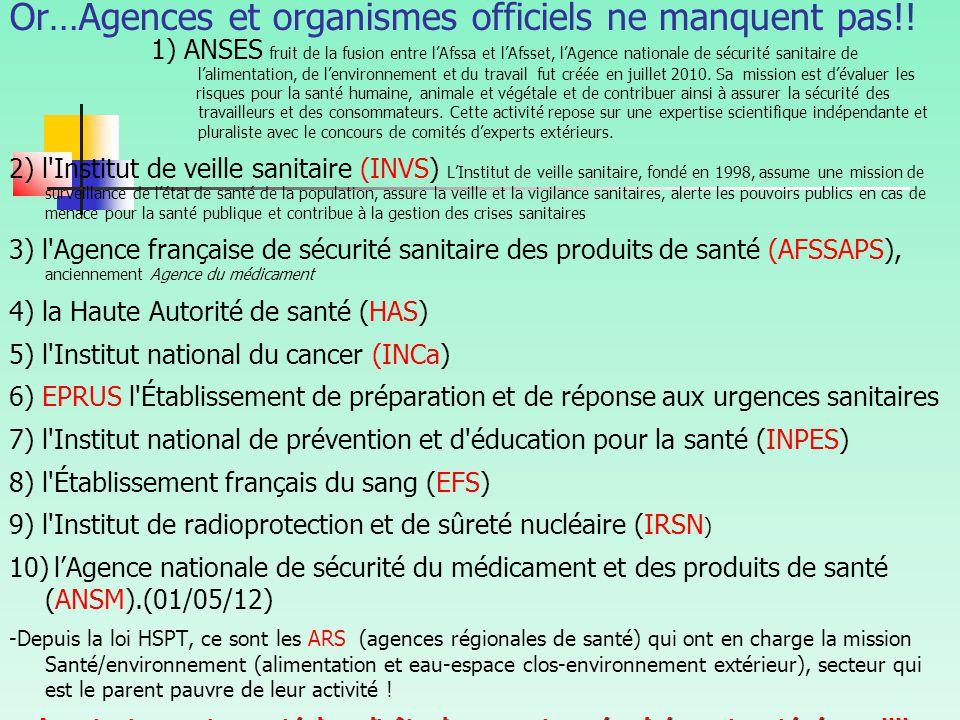 Or…Agences et organismes officiels ne manquent pas!.