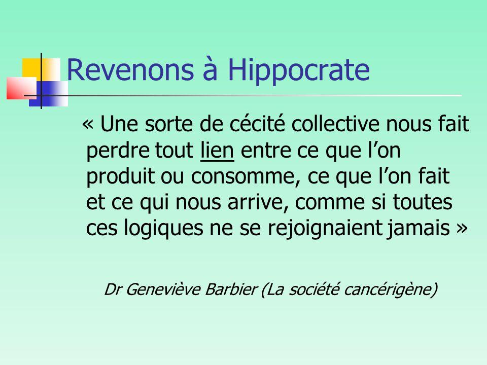 Revenons à Hippocrate « Une sorte de cécité collective nous fait perdre tout lien entre ce que l'on produit ou consomme, ce que l'on fait et ce qui nous arrive, comme si toutes ces logiques ne se rejoignaient jamais » Dr Geneviève Barbier (La société cancérigène)