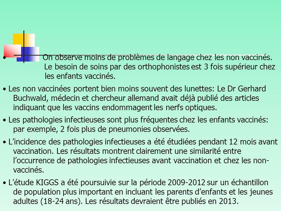 On observe moins de problèmes de langage chez les non vaccinés.