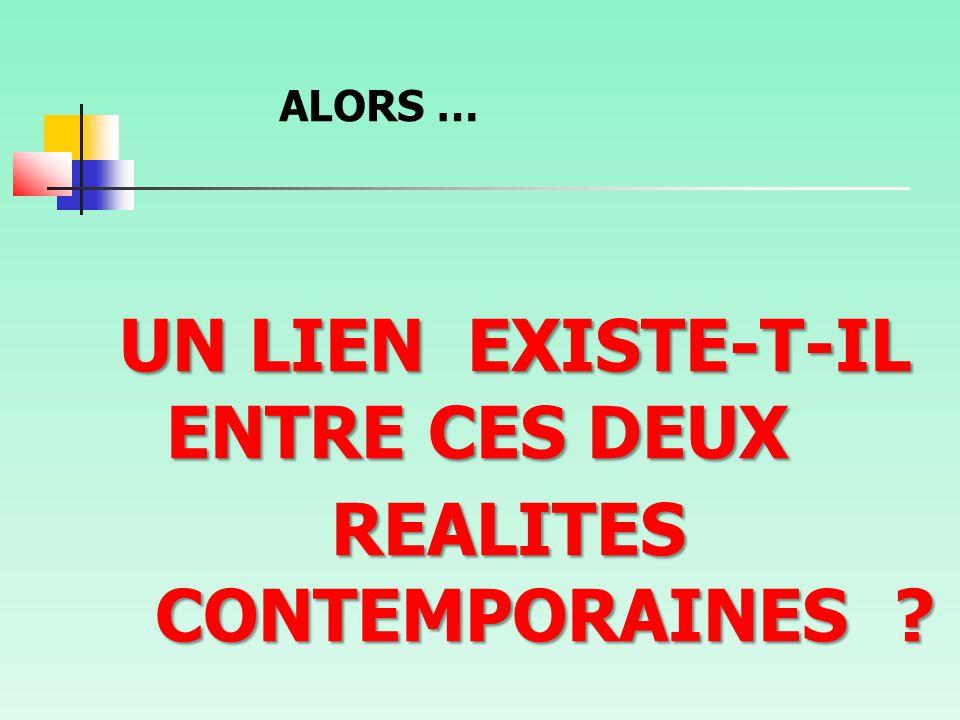 ALORS … UN LIEN EXISTE-T-IL ENTRE CES DEUX REALITES CONTEMPORAINES ? REALITES CONTEMPORAINES ?