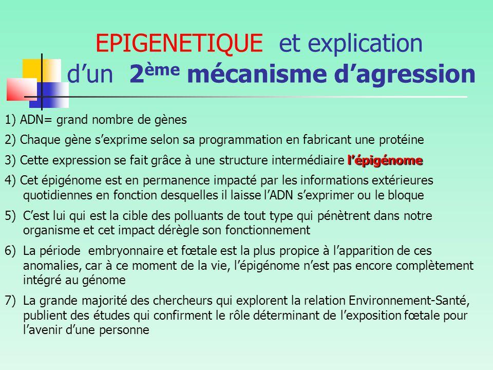 EPIGENETIQUE et explication d'un 2 ème mécanisme d'agression 1) ADN= grand nombre de gènes 2) Chaque gène s'exprime selon sa programmation en fabricant une protéine l'épigénome 3) Cette expression se fait grâce à une structure intermédiaire l'épigénome 4) Cet épigénome est en permanence impacté par les informations extérieures quotidiennes en fonction desquelles il laisse l'ADN s'exprimer ou le bloque 5)C'est lui qui est la cible des polluants de tout type qui pénètrent dans notre organisme et cet impact dérègle son fonctionnement 6)La période embryonnaire et fœtale est la plus propice à l'apparition de ces anomalies, car à ce moment de la vie, l'épigénome n'est pas encore complètement intégré au génome 7)La grande majorité des chercheurs qui explorent la relation Environnement-Santé, publient des études qui confirment le rôle déterminant de l'exposition fœtale pour l'avenir d'une personne