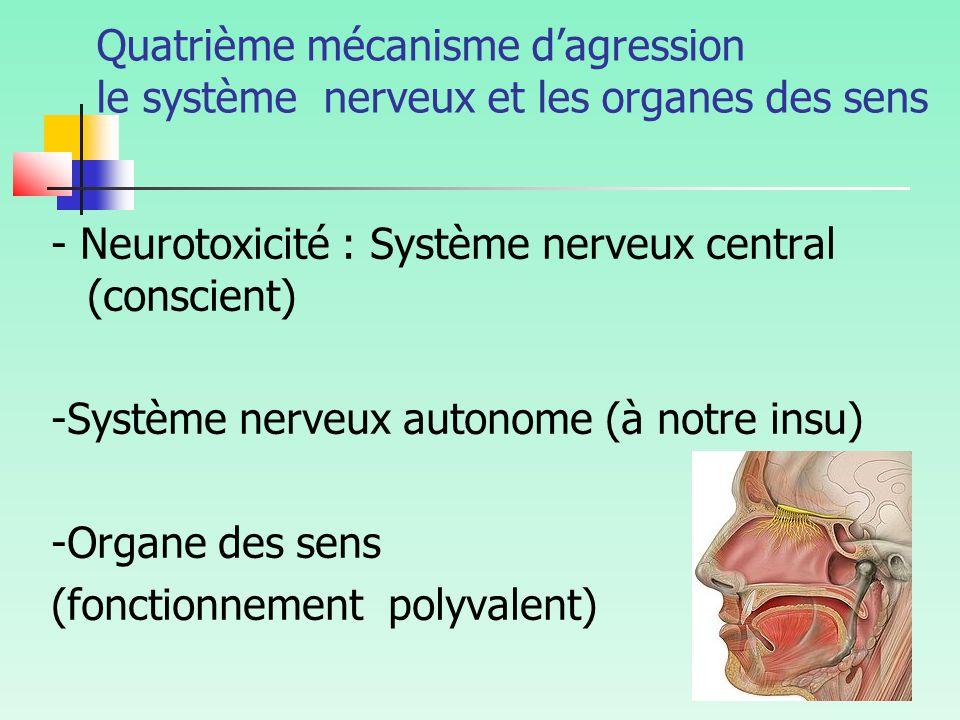 Quatrième mécanisme d'agression le système nerveux et les organes des sens - Neurotoxicité : Système nerveux central (conscient) -Système nerveux autonome (à notre insu) -Organe des sens (fonctionnement polyvalent)