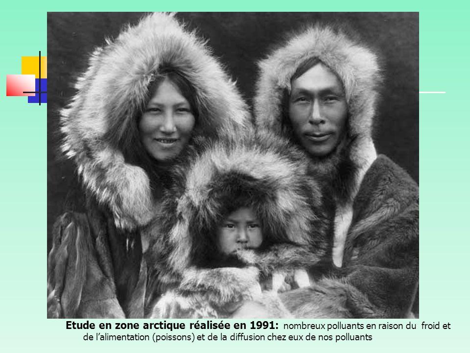Vvvnnnn Etude en zone arctique réalisée en 1991: nombreux polluants en raison du froid et de l'alimentation (poissons) et de la diffusion chez eux de nos polluants