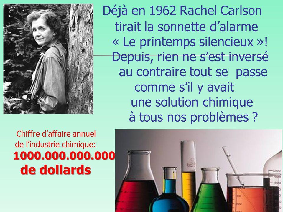 1000.000.000.000 de dollards Déjà en 1962Rachel Carlson tirait la sonnette d'alarme « Le printemps silencieux ».