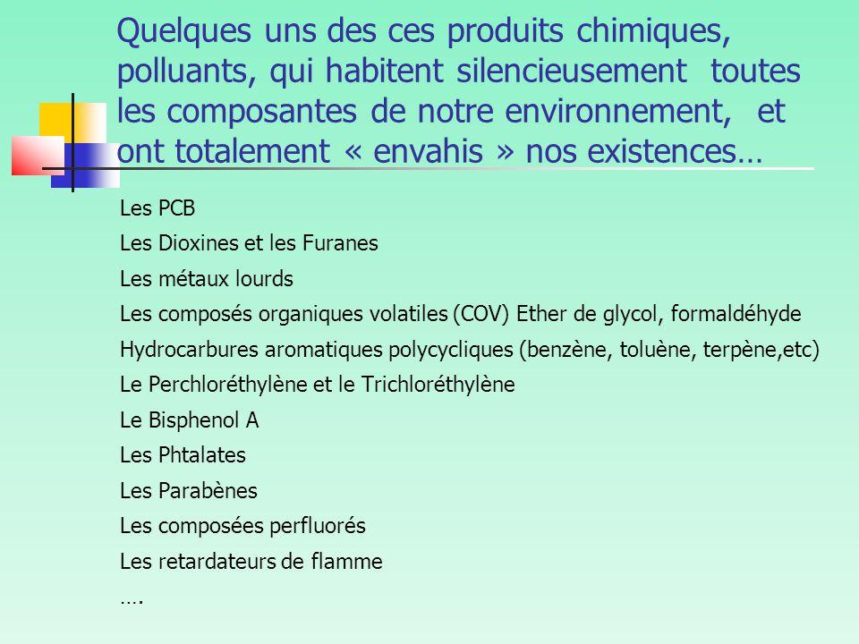 Quelques uns des ces produits chimiques, polluants, qui habitent silencieusement toutes les composantes de notre environnement, et ont totalement « envahis » nos existences… Les PCB Les Dioxines et les Furanes Les métaux lourds Les composés organiques volatiles (COV) Ether de glycol, formaldéhyde Hydrocarbures aromatiques polycycliques (benzène, toluène, terpène,etc) Le Perchloréthylène et le Trichloréthylène Le Bisphenol A Les Phtalates Les Parabènes Les composées perfluorés Les retardateurs de flamme ….