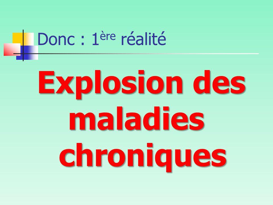 Donc : 1 ère réalité Explosion des maladies chroniques