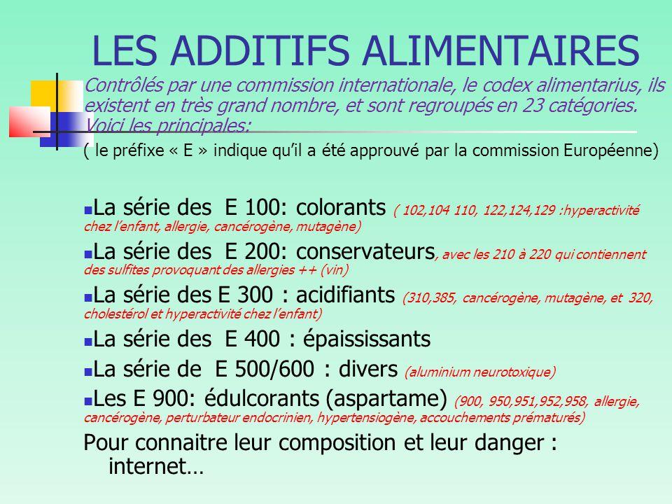 LES ADDITIFS ALIMENTAIRES Contrôlés par une commission internationale, le codex alimentarius, ils existent en très grand nombre, et sont regroupés en 23 catégories.