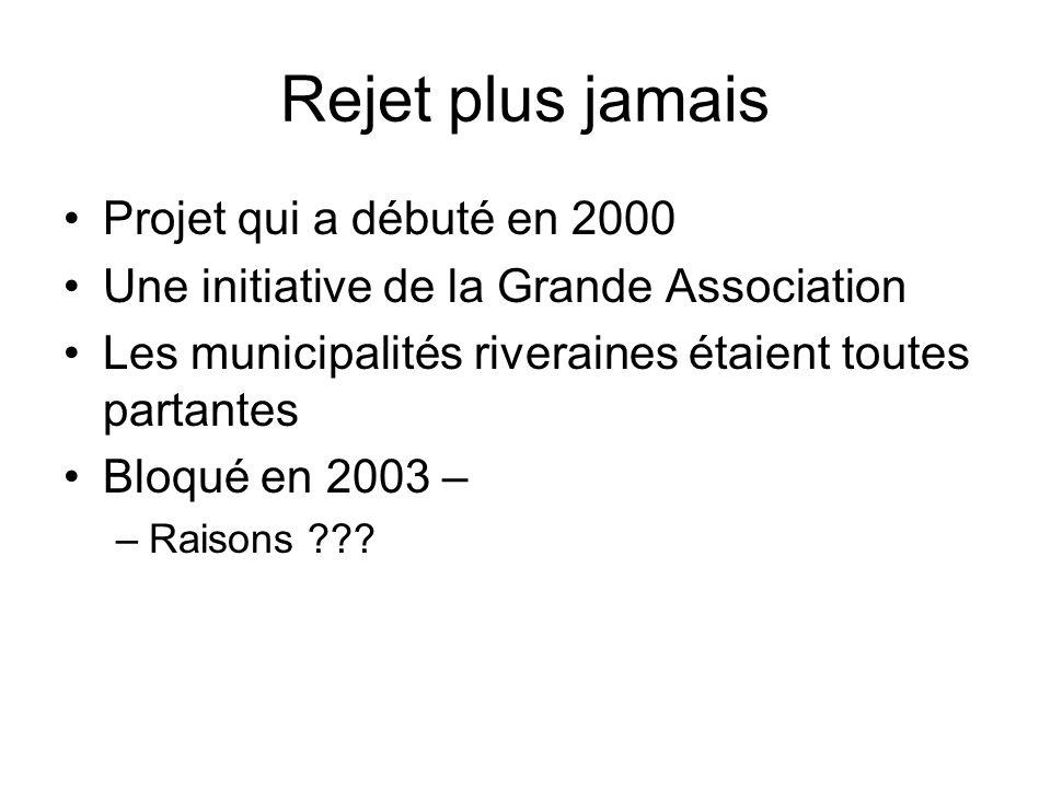 Rejet plus jamais Projet qui a débuté en 2000 Une initiative de la Grande Association Les municipalités riveraines étaient toutes partantes Bloqué en 2003 – –Raisons