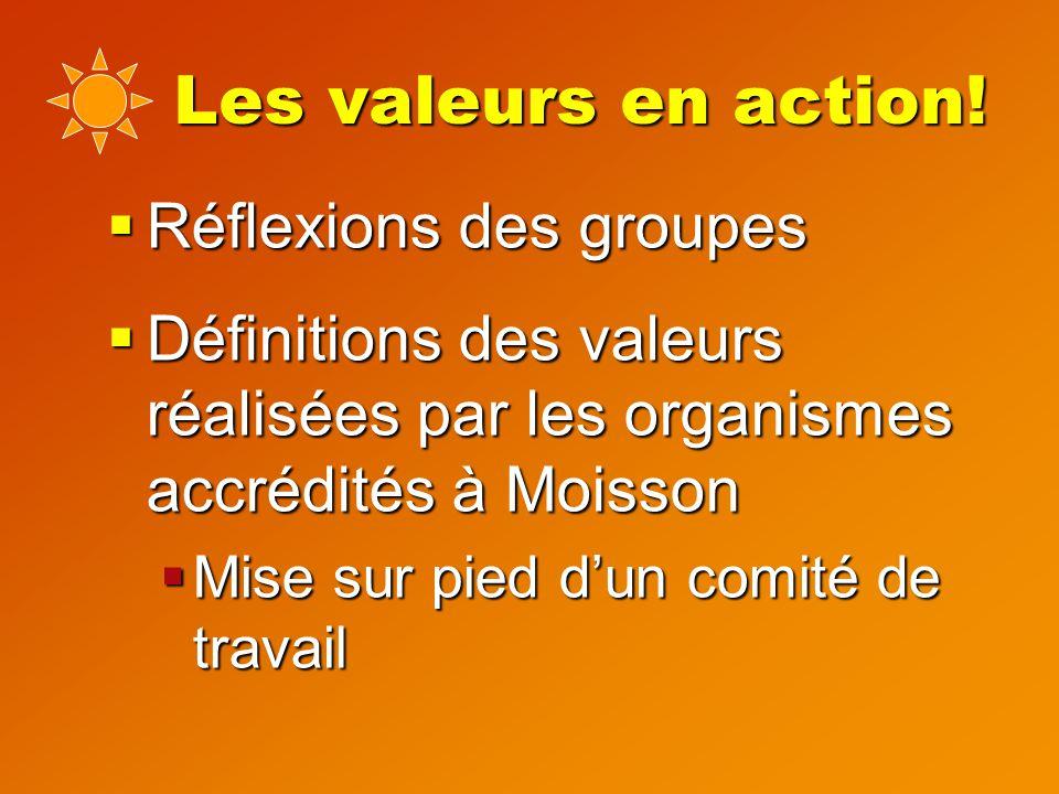 Les valeurs en action.
