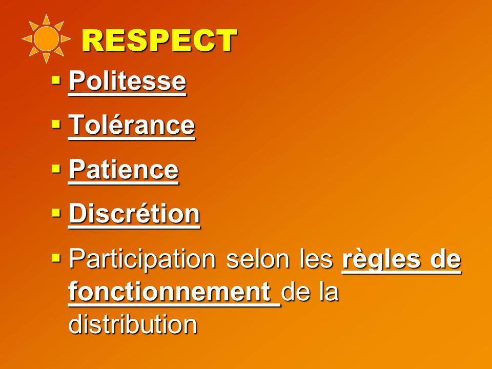 RESPECT  Politesse  Tolérance  Patience  Discrétion  Participation selon les règles de fonctionnement de la distribution