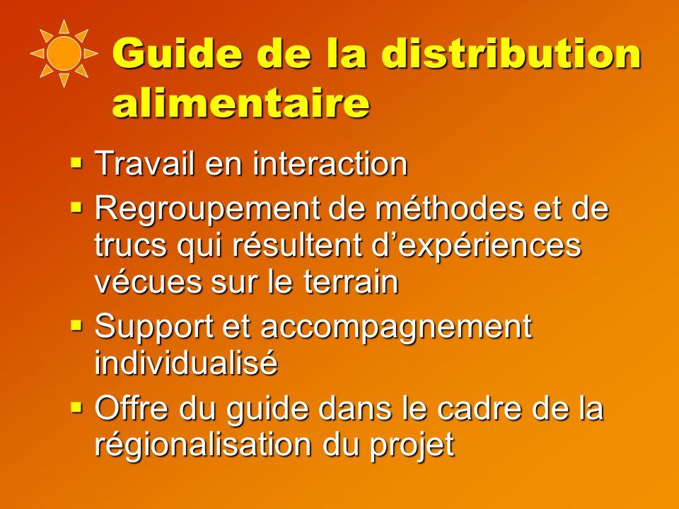 Guide de la distribution alimentaire  Travail en interaction  Regroupement de méthodes et de trucs qui résultent d'expériences vécues sur le terrain  Support et accompagnement individualisé  Offre du guide dans le cadre de la régionalisation du projet