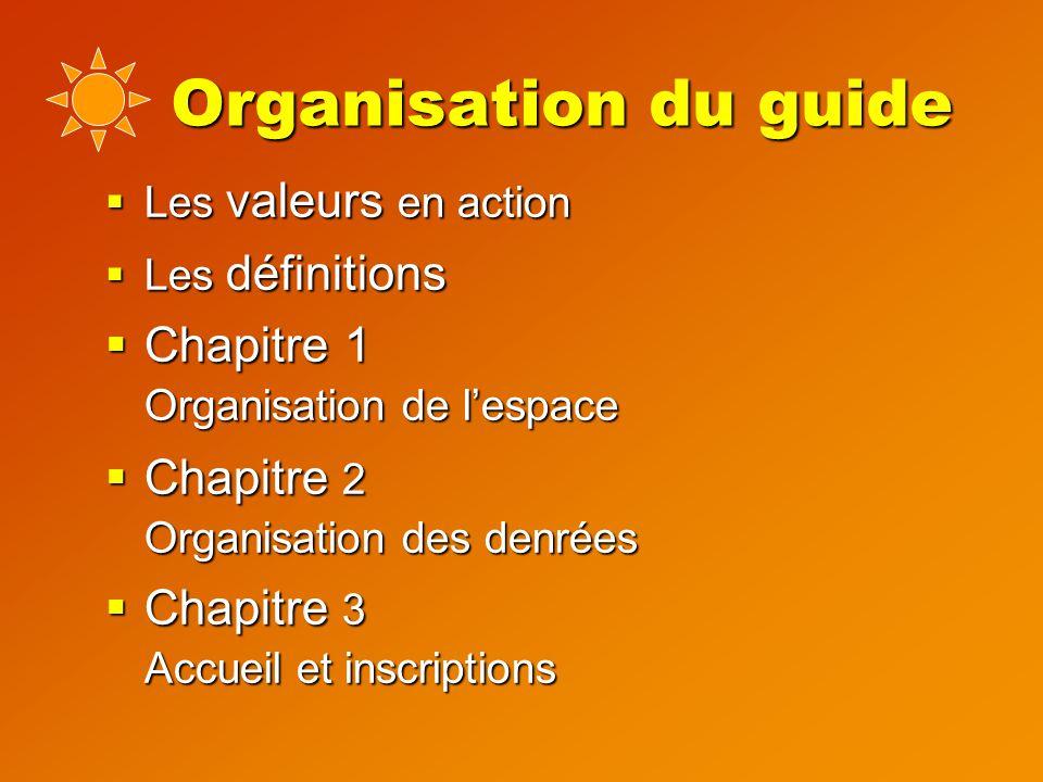 Organisation du guide  Les valeurs en action  Les définitions  Chapitre 1 Organisation de l'espace  Chapitre 2 Organisation des denrées  Chapitre 3 Accueil et inscriptions
