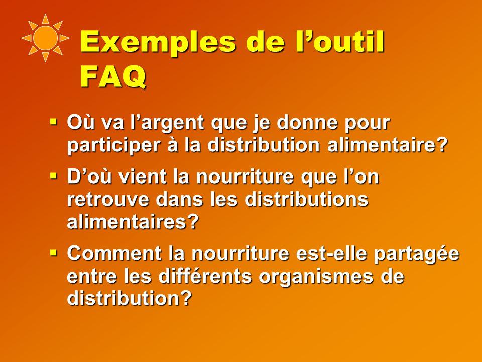 Exemples de l'outil FAQ  Où va l'argent que je donne pour participer à la distribution alimentaire.