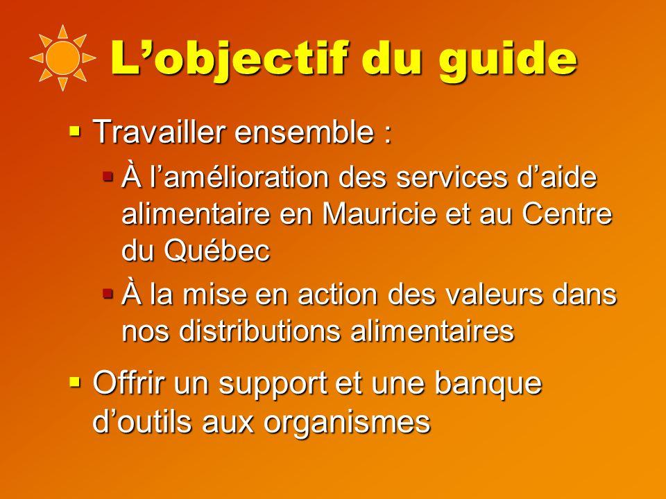 L'objectif du guide  Travailler ensemble :  À l'amélioration des services d'aide alimentaire en Mauricie et au Centre du Québec  À la mise en action des valeurs dans nos distributions alimentaires  Offrir un support et une banque d'outils aux organismes