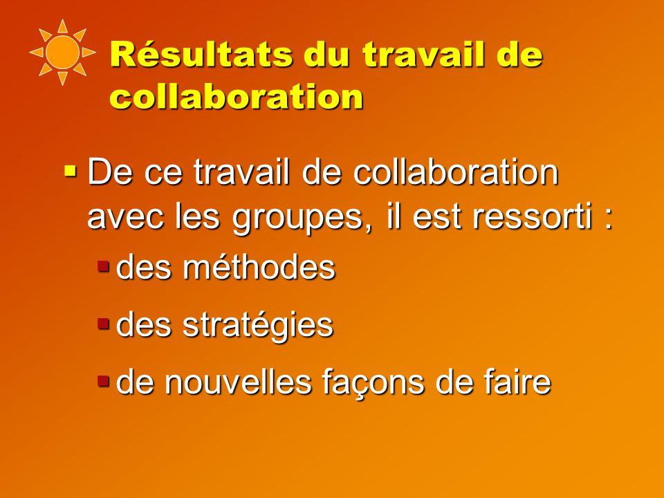 Résultats du travail de collaboration  De ce travail de collaboration avec les groupes, il est ressorti :  des méthodes  des stratégies  de nouvelles façons de faire