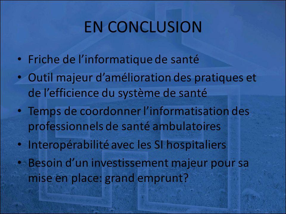 EN CONCLUSION Friche de l'informatique de santé Outil majeur d'amélioration des pratiques et de l'efficience du système de santé Temps de coordonner l'informatisation des professionnels de santé ambulatoires Interopérabilité avec les SI hospitaliers Besoin d'un investissement majeur pour sa mise en place: grand emprunt