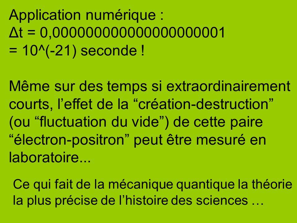 """Application numérique : Δt = 0,000000000000000000001 = 10^(-21) seconde ! Même sur des temps si extraordinairement courts, l'effet de la """"création-des"""