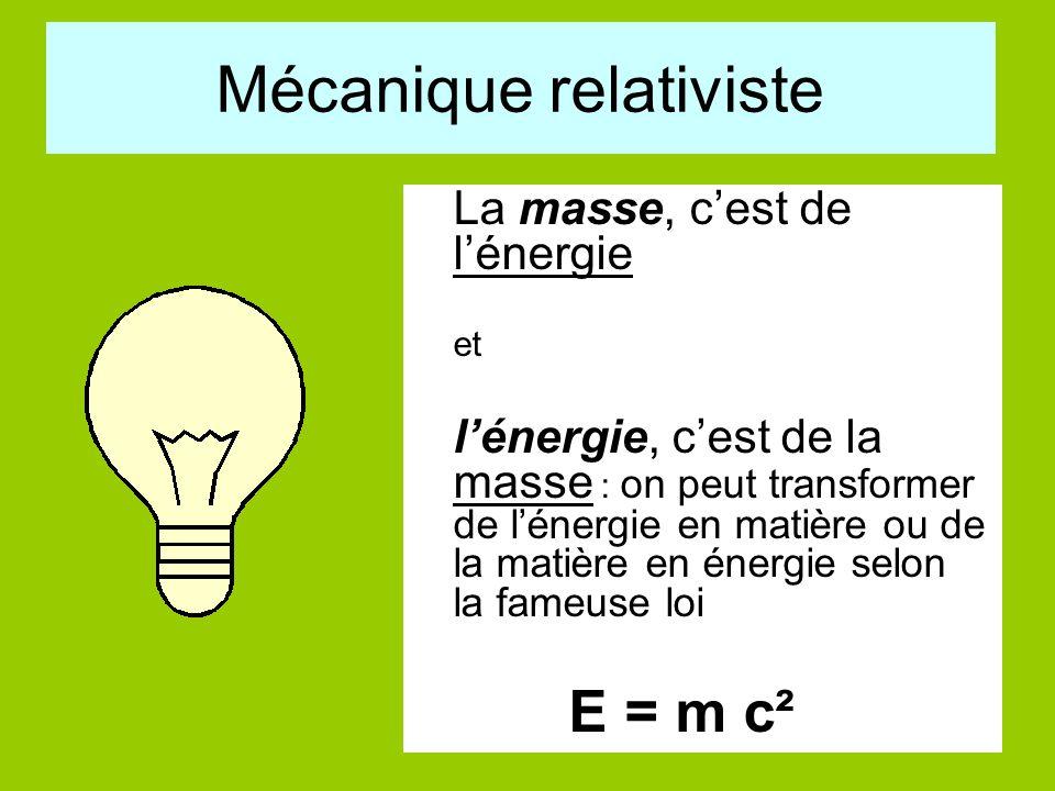 Mécanique relativiste La masse, c'est de l'énergie et l'énergie, c'est de la masse : on peut transformer de l'énergie en matière ou de la matière en é