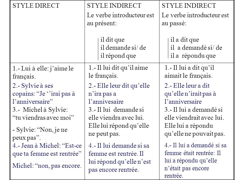 STYLE DIRECTSTYLE INDIRECT Le verbe introducteur est au présent: STYLE INDIRECT Le verbe introducteur est au passé: 1.- Lui à elle: j'aime le français