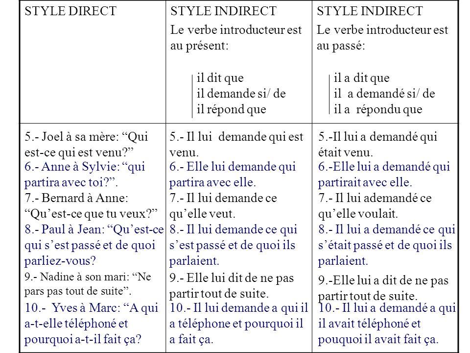 """STYLE DIRECTSTYLE INDIRECT Le verbe introducteur est au présent: STYLE INDIRECT Le verbe introducteur est au passé: 5.- Joel à sa mère: """"Qui est-ce qu"""