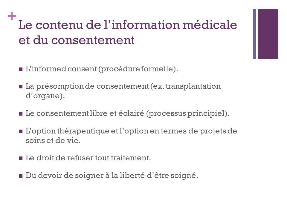 + Le contenu de l'information médicale et du consentement L'informed consent (procédure formelle). La présomption de consentement (ex. transplantation