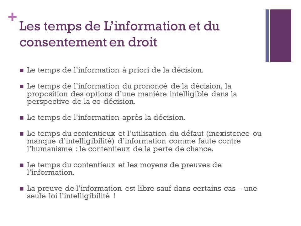 + Les temps de L'information et du consentement en droit Le temps de l'information à priori de la décision. Le temps de l'information du prononcé de l