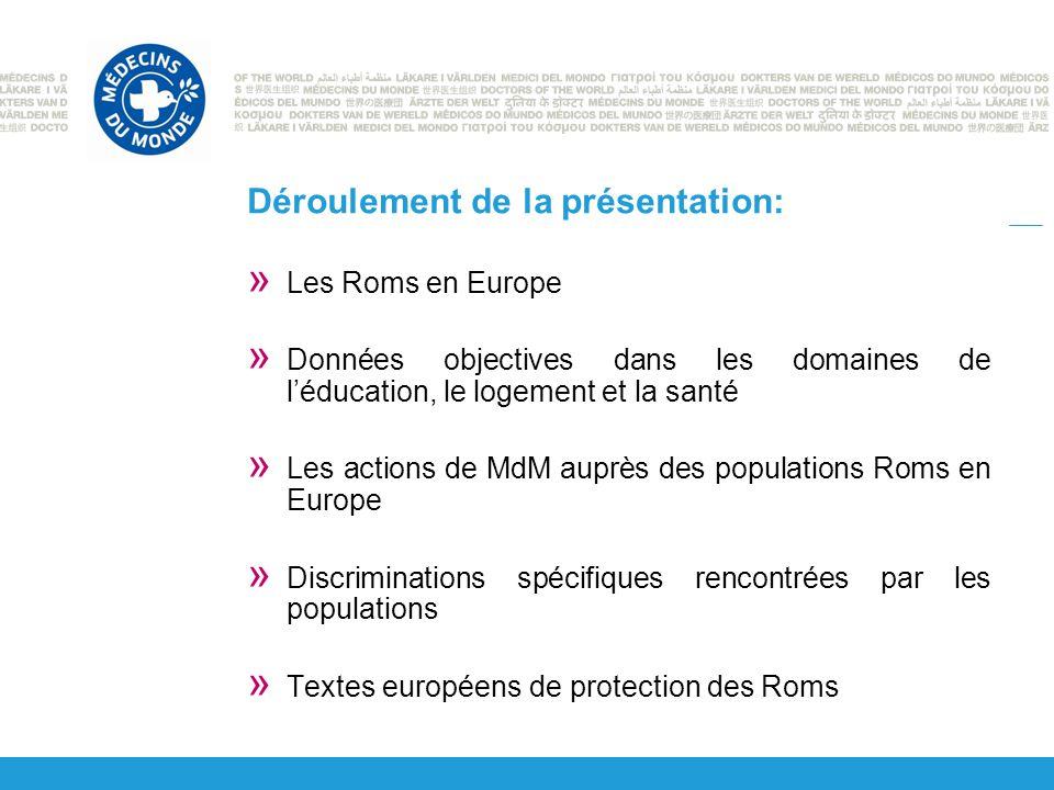 Déroulement de la présentation: » Les Roms en Europe » Données objectives dans les domaines de l'éducation, le logement et la santé » Les actions de MdM auprès des populations Roms en Europe » Discriminations spécifiques rencontrées par les populations » Textes européens de protection des Roms