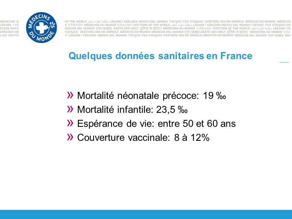 Quelques données sanitaires en France » Mortalité néonatale précoce: 19 ‰ » Mortalité infantile: 23,5 ‰ » Espérance de vie: entre 50 et 60 ans » Couverture vaccinale: 8 à 12%