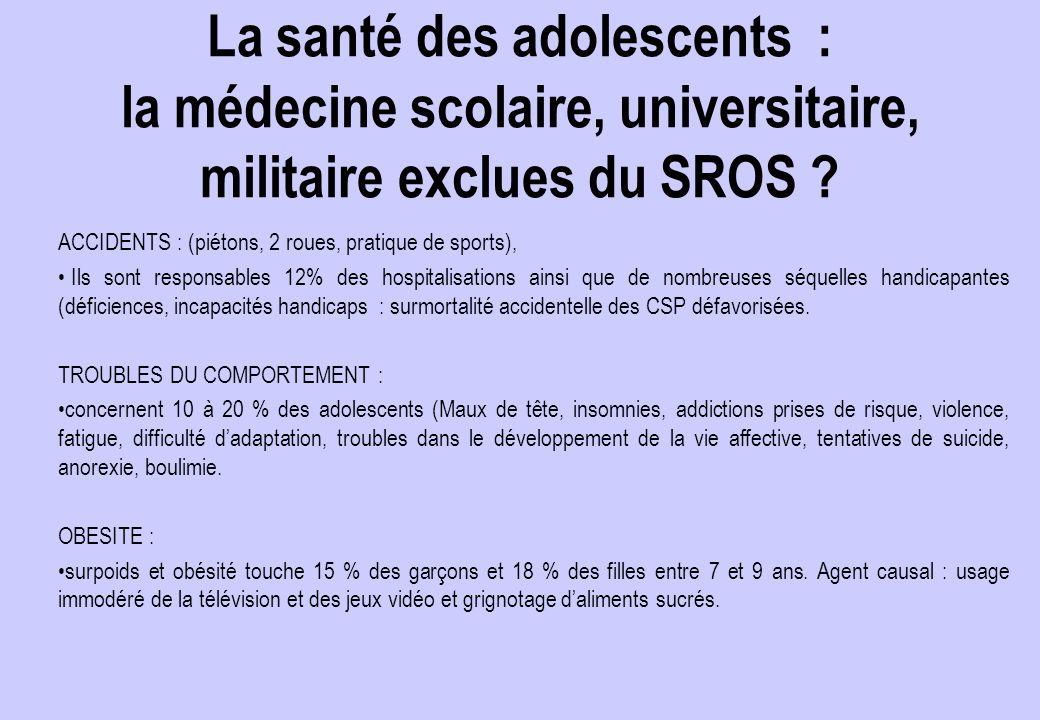 La santé des adolescents : la médecine scolaire, universitaire, militaire exclues du SROS .