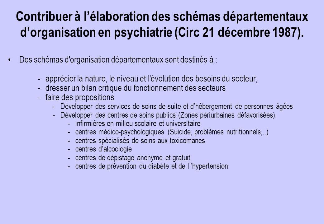 Contribuer à l'élaboration des schémas départementaux d'organisation en psychiatrie (Circ 21 décembre 1987).