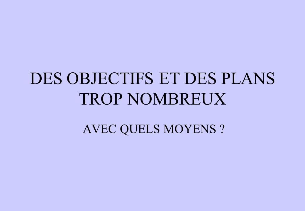 DES OBJECTIFS ET DES PLANS TROP NOMBREUX AVEC QUELS MOYENS