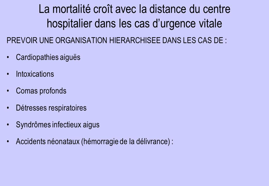 La mortalité croît avec la distance du centre hospitalier dans les cas d'urgence vitale PREVOIR UNE ORGANISATION HIERARCHISEE DANS LES CAS DE : Cardiopathies aiguës Intoxications Comas profonds Détresses respiratoires Syndrômes infectieux aigus Accidents néonataux (hémorragie de la délivrance) :