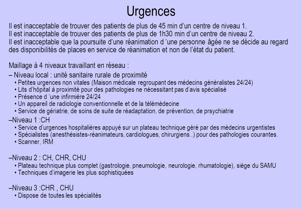 Urgences Il est inacceptable de trouver des patients de plus de 45 min d'un centre de niveau 1.