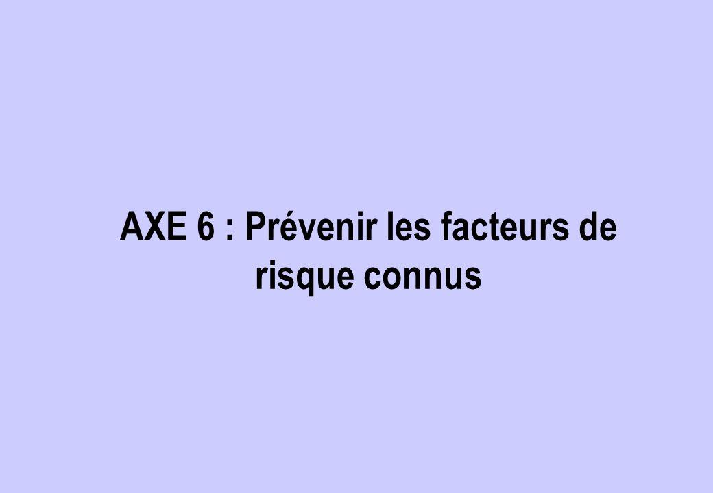 AXE 6 : Prévenir les facteurs de risque connus
