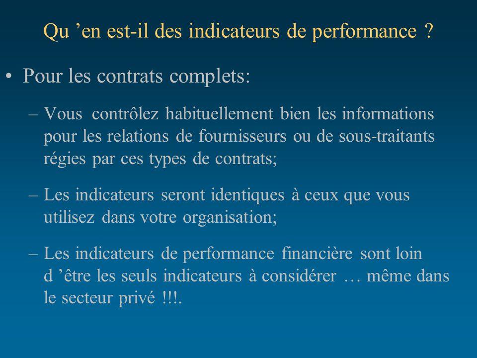Qu 'en est-il des indicateurs de performance ? Pour les contrats complets: –Vous contrôlez habituellement bien les informations pour les relations de